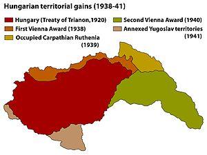Hungarian occupation of Yugoslav territories - Image: Territorial Gains Hungary 1920 41