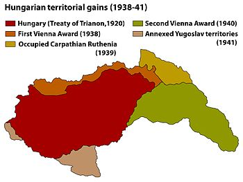 map showing the Yugoslav and other territories gained by Hungary between 1938 and 1941