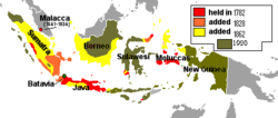 Map of the Dutch East Indies showing its territorial expansion from 1800 to its fullest extent prior to Japanese occupation in 1942.