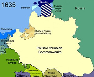 Treaty of Stuhmsdorf - Poland at the time of the negotiations, in 1635