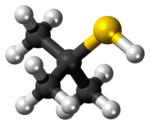 Ball-and-stick model of the tert-butylthiol molecule