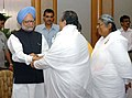 The Brahmkumaris tying 'Rakhi' to the Prime Minister, Dr. Manmohan Singh, on the occasion of 'Raksha Bandhan', in New Delhi on August 16, 2008.jpg