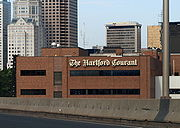 The Hartford Courant building in downtown Hartford, seen from I-84 East