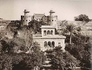 Lahore Fort - A picture showing the Lahore Fort and Hazuri Bagh Pavilion in 1870.