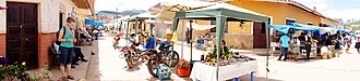 Samaipata, Bolivia - The indoor market spills out onto the streets in Samaipata, Bolivia.