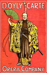 "Red-backed poster with a single figure in a robe with large, heavy sleeves.  Text reads ""D'Oyly Carte Opera Company""."