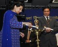 The Minister of State for External Affairs, Smt. Preneet Kaur lighting the lamp to inaugurate the 9th World Hindi Conference, in Johannesburg, South Africa on September 22, 2012.jpg