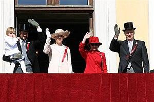 Norwegian Constitution Day - In Oslo the children's parade ends in the palace gardens of the Royal Palace with the Norwegian Royal Family present on the balcony. 2006