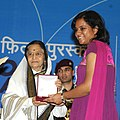 The President, Smt. Pratibha Devisingh Patil presenting the Rajat Kamal Award to Ms. Tina Mitra for the Best Editing (Germ), at the 58th National Film Awards function, in New Delhi on September 09, 2011.jpg