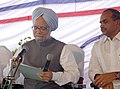 The Prime Minister, Dr. Manmohan Singh at a review meeting with the State Government officials in the airport premises at Hyderabad, Andhra Pradesh on August 11, 2006.jpg