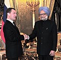 The Prime Minister, Dr. Manmohan Singh meeting the President of the Russian Federation, Mr. Dmitry A. Medvedev, in Moscow, Russia on December 16, 2011.jpg
