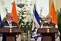 The Prime Minister, Shri Narendra Modi and the Prime Minister of Israel, Mr. Benjamin Netanyahu during Press Statement, at Hyderabad House, in New Delhi on January 15, 2018 (1).jpg