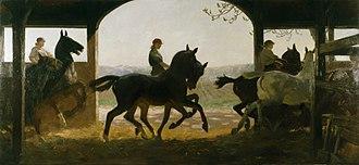 Lucy Kemp-Welch - The Straw Ride- Russley Park Remount Dep't, Wiltshire (Art.IWM ART3160)