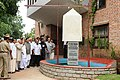 The Vice President, Shri Mohd. Hamid Ansari unveiling the plaque to inaugurate the New Library Building in the name of Prof. K.N. Raj, at the Centre for Developmental Studies, at Thiruvananthapuram (Kerala) on July 09, 2010.jpg