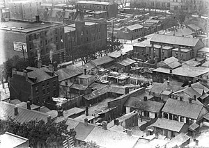 History of neighbourhoods in Toronto - The Ward as seen in 1910.  Once the centre of Toronto's Jewish community, it has been completely redeveloped.