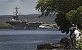 The aircraft carrier USS John C. Stennis (CVN 74) departs Joint Base Pearl Harbor-Hickam, Hawaii, after a scheduled port visit April 24, 2013 130424-N-WF272-027.jpg