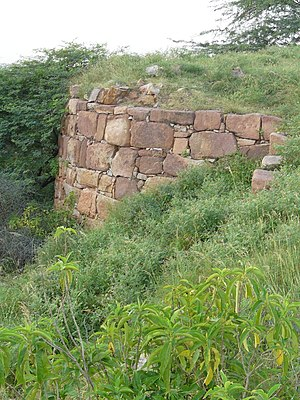 History of Delhi - The bastion of Lal Kot fort in Delhi's Mehrauli built by Tomara Rajput ruler, Anangpal in c. AD 736.