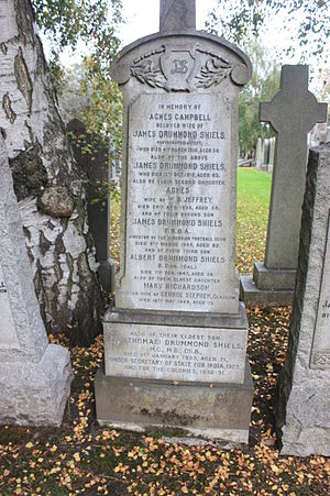 Drummond Shiels - The grave of Drummond Shiels, Grange Cemetery, Edinburgh