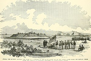 Battle of Hatteras Inlet Batteries - Fort Hatteras surrenders