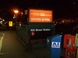 The street level staircase for 103rd Street 1 station Upper West Side.JPG