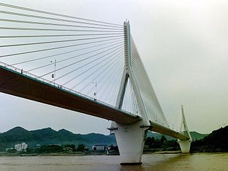 Prestressed structure - Cable-stayed prestressed concrete bridge over Yangtze river
