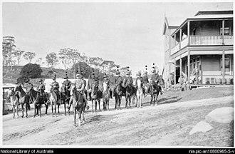 Tilba, New South Wales - Tilba Rifle Brigade approx 1904-1906 Clem Bate officer in front. Taken in Main Street of Central Tilba