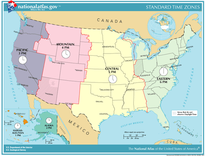 List of U.S. states and territories by time zone   Simple English