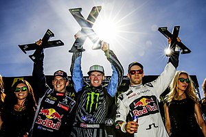 2016 World RX of Norway - Podium L-R: Timmy Hansen, Bakkerud and Ekström