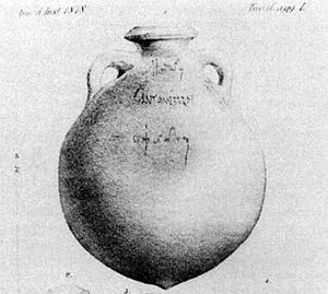 Titulus pictus - A Dressel 20 amphora with examples of tituli picti and potters' stamps found at Monte Testaccio