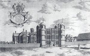 Walter Aston, 1st Lord Aston of Forfar - Image: Tixall Hall and Gatehouse (1686)
