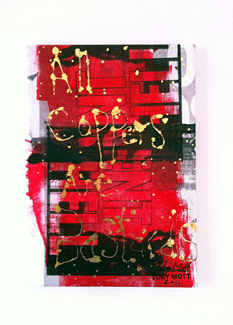 """Toby Mott - """"All Coppers Are Bastards"""" painting from Mott's 2011 gallery based on the 2011 England riots."""