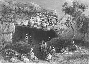 "The ""Tomb of the Kings"", built outside the walls of Jerusalem by Queen Helena in the mid first century AD. From a lithograph by William Henry Bartlett."