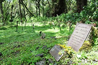Dian Fossey - Fossey's grave at Karisoke, alongside those of her gorilla friends