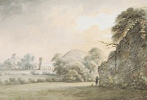"Manor of Tor Mohun - View entitled ""Torr Church and Chapel"", watercolour painting by Rev John Swete dated 1793 of St Saviour's Church, Tor Mohun"