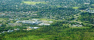Townsville Hospital - Townsville Hospital, with Ross River bridge and the (previously) Davies Laboratory CSIRO visible to the right and JCU entrance on the left