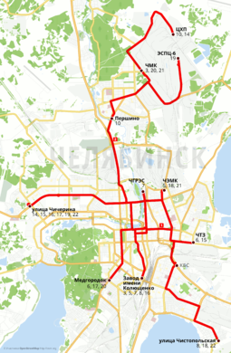 Tram routes of Chelyabinsk over OSM in Russian.png