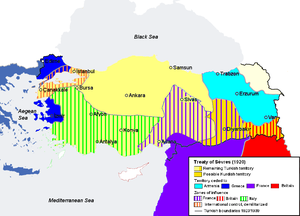 Treaty of Sèvres map partitioning Anatolia