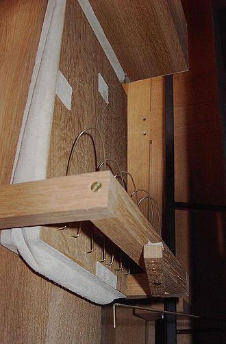 Tremulant - Tremulantat  using  spring-loaded flap, on the Jens Steinhoff organ in Varna, Bulgaria