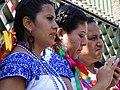 Trio of Women in Indigenous Dress - Zocalo - Centro Historico - Puebla - Mexico (14916859284).jpg