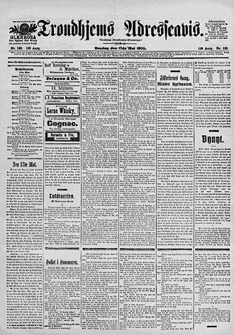 Adresseavisen - Image: Trondhjems Adresseavis 17. mai 1905 framside