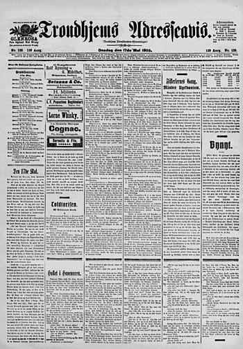 Trondhjems Adresseavis 17. mai 1905 - framside