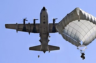 T-11 parachute - Parachutists jumping from an MC-130 using the T-11 Personnel Parachute System