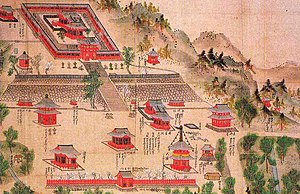 Shinto shrine - An example of jingū-ji:Tsurugaoka Hachiman-gū-ji in an old drawing. In the foreground the shrine-temple's Buddhist structures (not extant), among them a pagoda, a belltower  and a niōmon. The shrine (extant) is above.