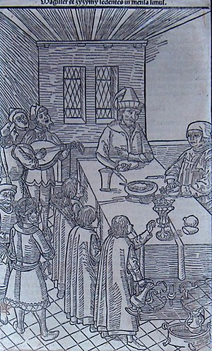 Sultan Cem - Cem Sultan (middle) and Pierre d'Aubusson at a dinner in Rhodes