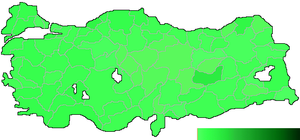 Democrat Party (Turkey, current) - Map illustrating the party's performance at the 2007 general election by constituency.