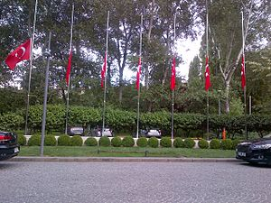 2016 Atatürk Airport attack - Turkish flags at half-mast on a day of national mourning, Ankara, Turkey