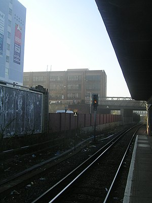 Twickenham railway station - Platform 5, with the Bridge House office building in the background.