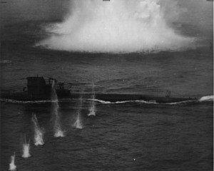 U-134 under attack, 8 July 1943; she survived this attack.