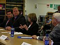 U.S. House Speaker Nancy Pelosi talks about federal money for flood damage with Gov. Chet Culver. U.S. Rep. Leonard Boswell looks on. (2840110939).jpg