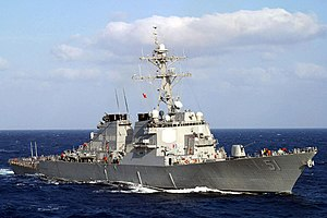 The USS Arleigh Burke (DDG-51) underway in the Mediterranean Sea in March 2003.